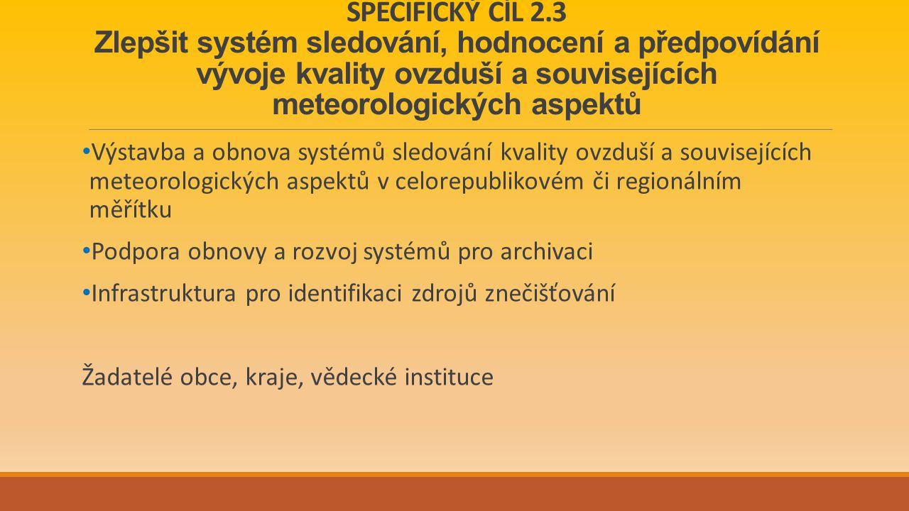 SPECIFICKÝ CÍL 2.3 Zlepšit systém sledování, hodnocení a předpovídání vývoje kvality ovzduší a souvisejících meteorologických aspektů Výstavba a obnova systémů sledování kvality ovzduší a souvisejících meteorologických aspektů v celorepublikovém či regionálním měřítku Podpora obnovy a rozvoj systémů pro archivaci Infrastruktura pro identifikaci zdrojů znečišťování Žadatelé obce, kraje, vědecké instituce
