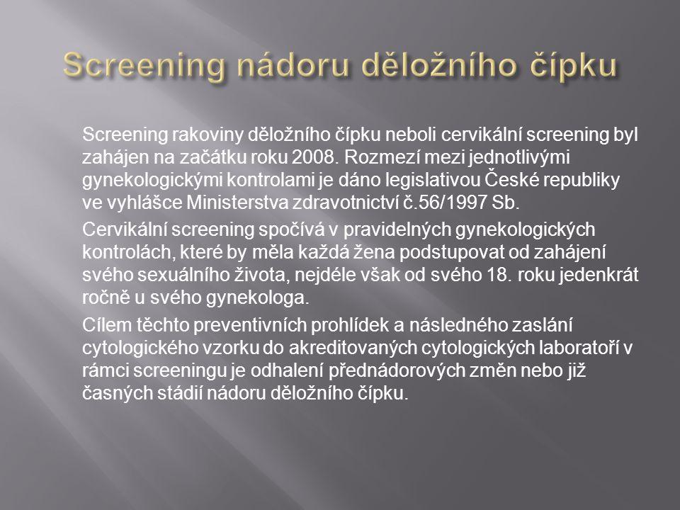 Screening rakoviny děložního čípku neboli cervikální screening byl zahájen na začátku roku 2008. Rozmezí mezi jednotlivými gynekologickými kontrolami
