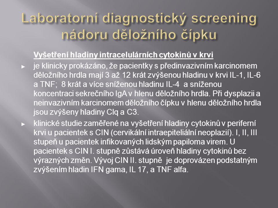 Vyšetření hladiny intracelulárních cytokinů v krvi ► je klinicky prokázáno, že pacientky s předinvazivním karcinomem děložního hrdla mají 3 až 12 krát