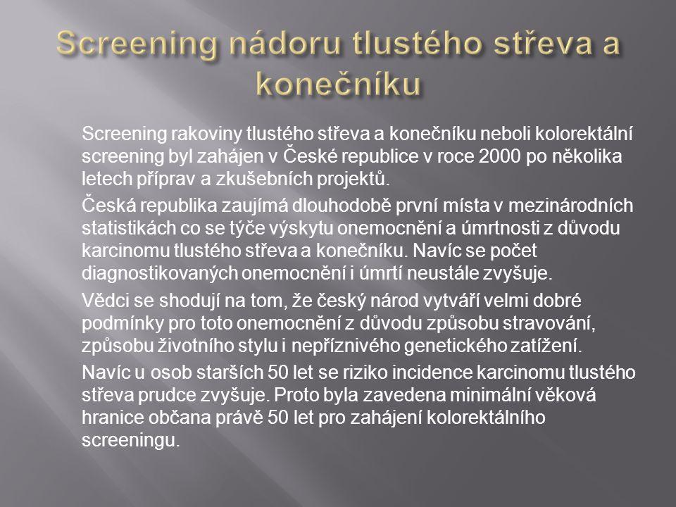 Screening rakoviny tlustého střeva a konečníku neboli kolorektální screening byl zahájen v České republice v roce 2000 po několika letech příprav a zk