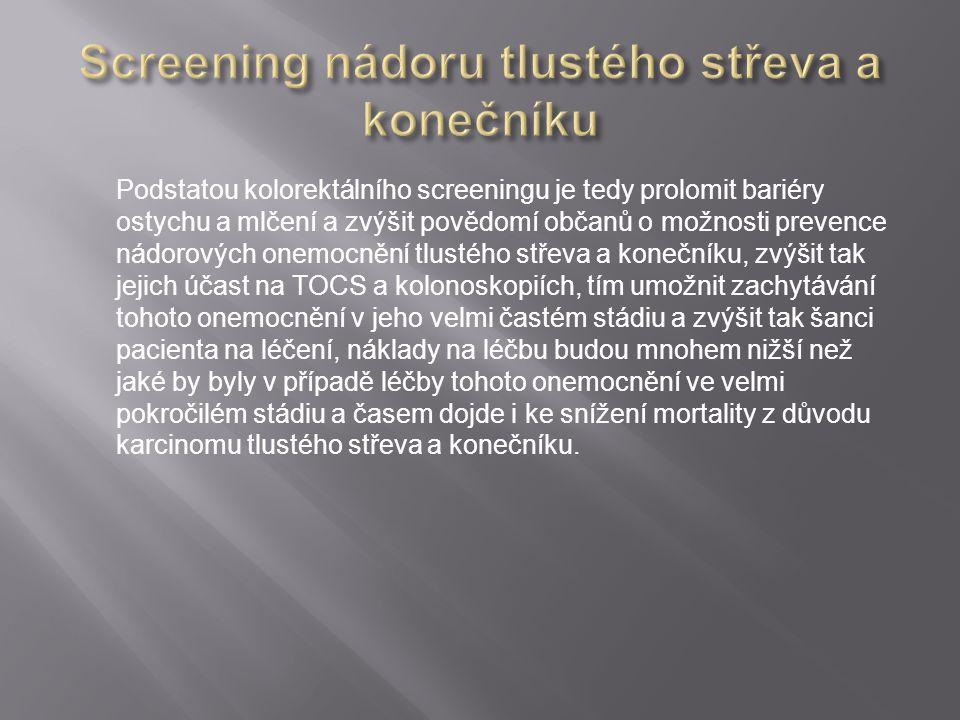 Podstatou kolorektálního screeningu je tedy prolomit bariéry ostychu a mlčení a zvýšit povědomí občanů o možnosti prevence nádorových onemocnění tlust