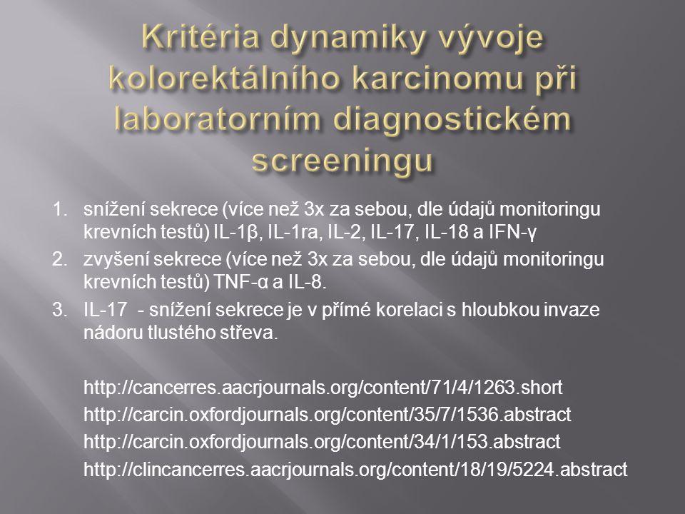 1. snížení sekrece (více než 3x za sebou, dle údajů monitoringu krevních testů) IL-1β, IL-1ra, IL-2, IL-17, IL-18 a IFN-γ 2. zvyšení sekrece (více než