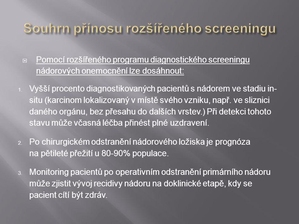  Pomocí rozšířeného programu diagnostického screeningu nádorových onemocnění lze dosáhnout: 1. Vyšší procento diagnostikovaných pacientů s nádorem ve