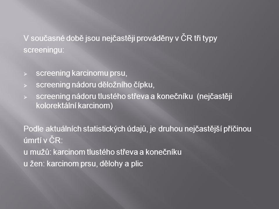 V současné době jsou nejčastěji prováděny v ČR tři typy screeningu:  screening karcinomu prsu,  screening nádoru děložního čípku,  screening nádoru
