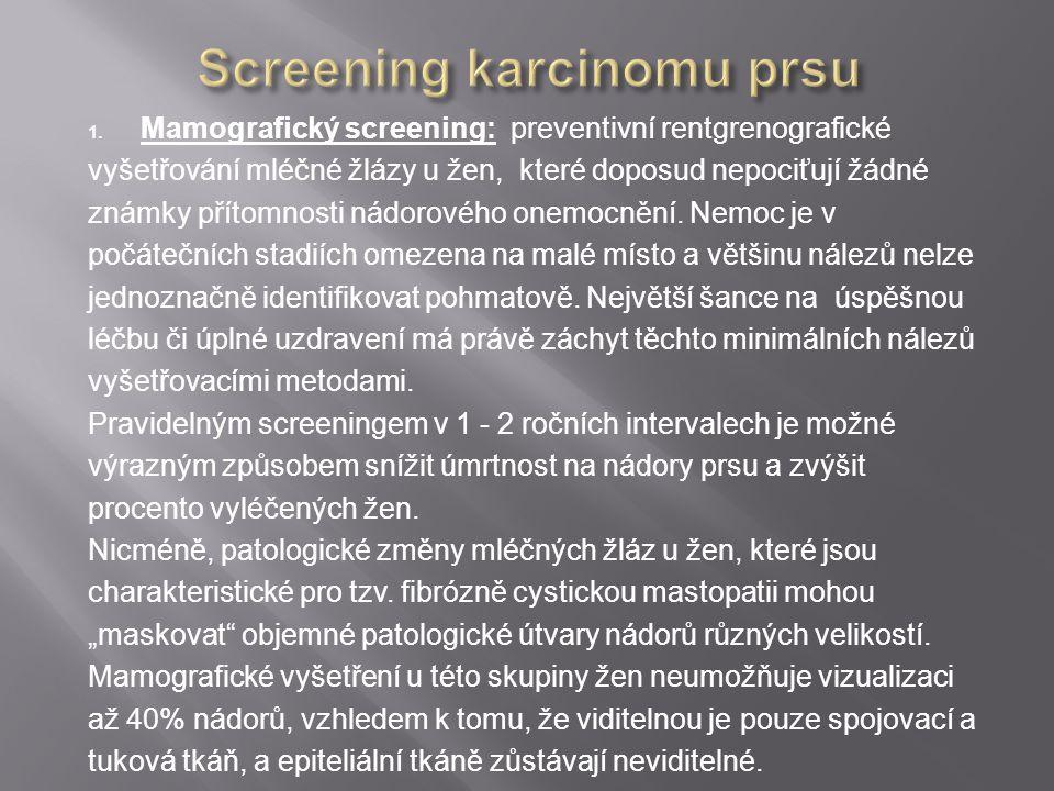 1. Mamografický screening: preventivní rentgrenografické vyšetřování mléčné žlázy u žen, které doposud nepociťují žádné známky přítomnosti nádorového