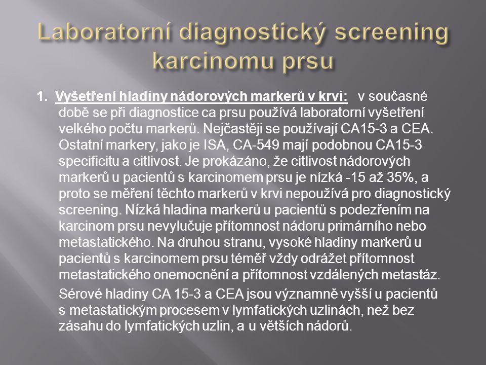 1. Vyšetření hladiny nádorových markerů v krvi: v současné době se při diagnostice ca prsu používá laboratorní vyšetření velkého počtu markerů. Nejčas
