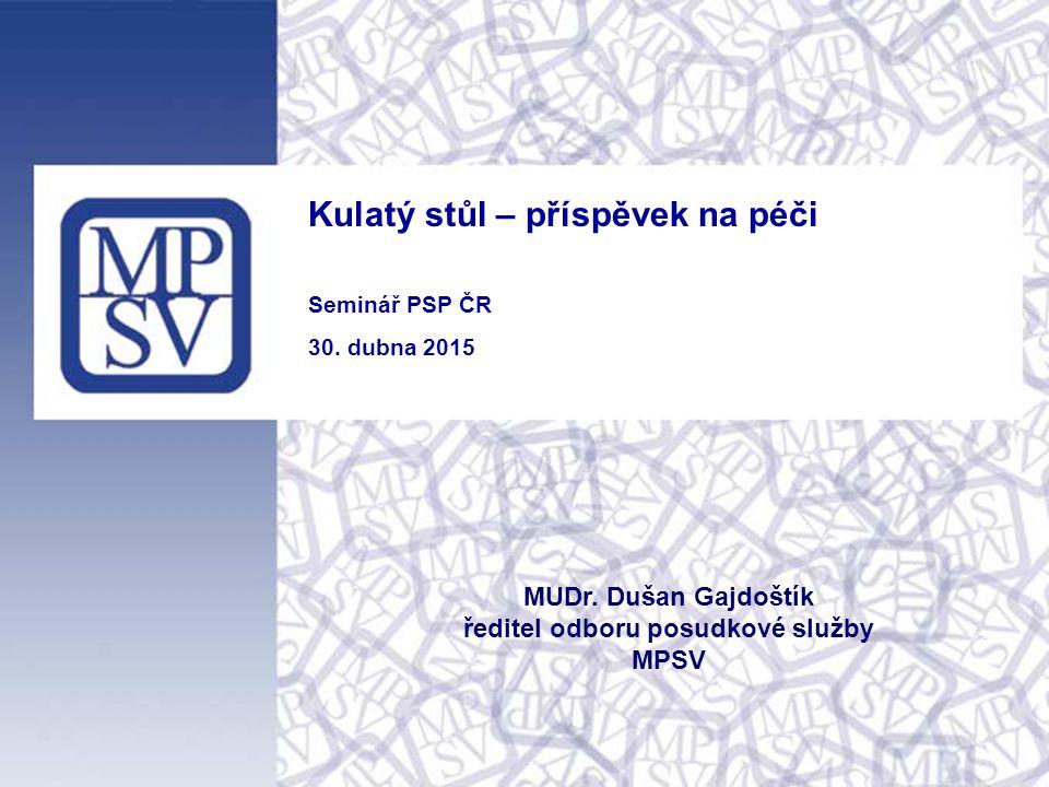 Kulatý stůl – příspěvek na péči Seminář PSP ČR 30. dubna 2015 MUDr. Dušan Gajdoštík ředitel odboru posudkové služby MPSV