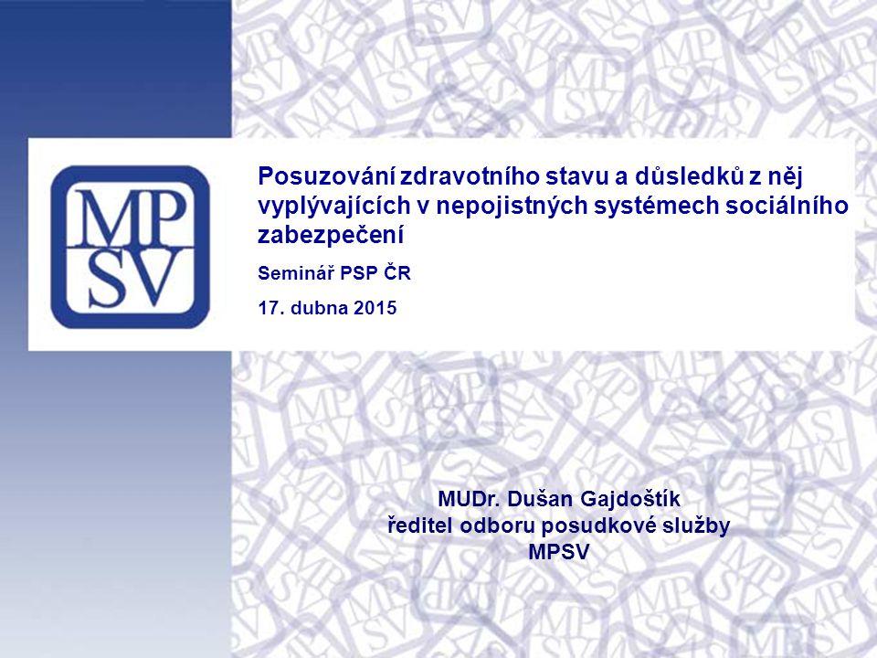Posuzování zdravotního stavu a důsledků z něj vyplývajících v nepojistných systémech sociálního zabezpečení Seminář PSP ČR 17. dubna 2015 MUDr. Dušan
