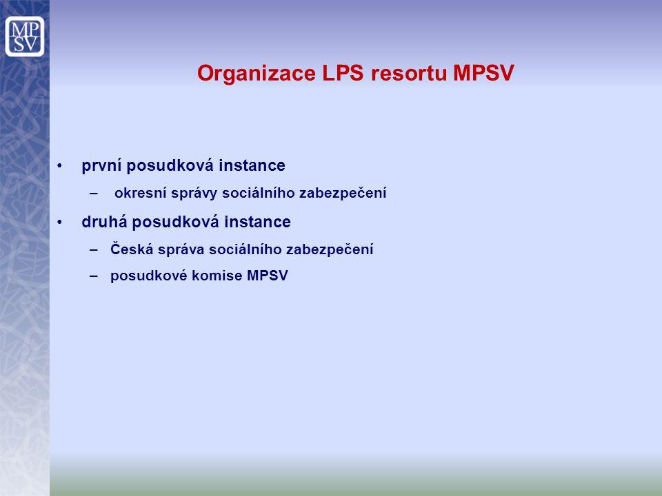 Organizace LPS resortu MPSV první posudková instance –okresní správy sociálního zabezpečení druhá posudková instance –Česká správa sociálního zabezpeč