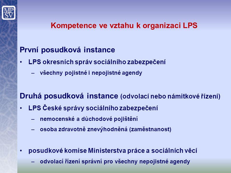 Kompetence ve vztahu k organizaci LPS První posudková instance LPS okresních správ sociálního zabezpečení –všechny pojistné i nepojistné agendy Druhá