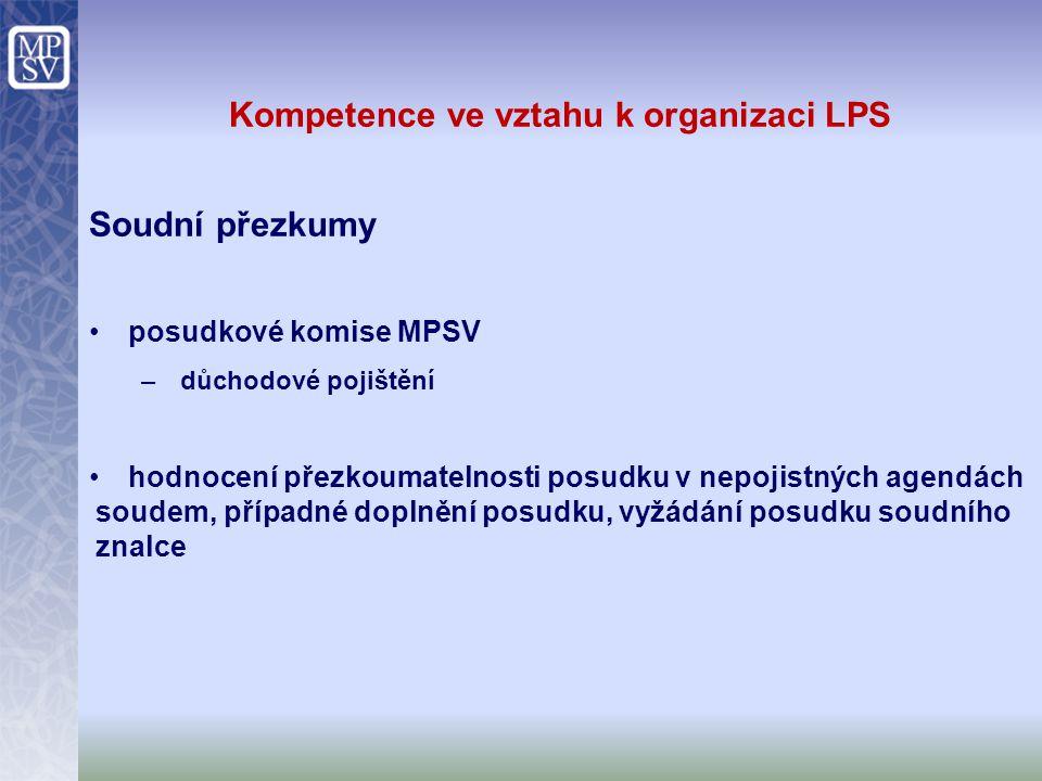 Kompetence ve vztahu k organizaci LPS Soudní přezkumy posudkové komise MPSV –důchodové pojištění hodnocení přezkoumatelnosti posudku v nepojistných ag
