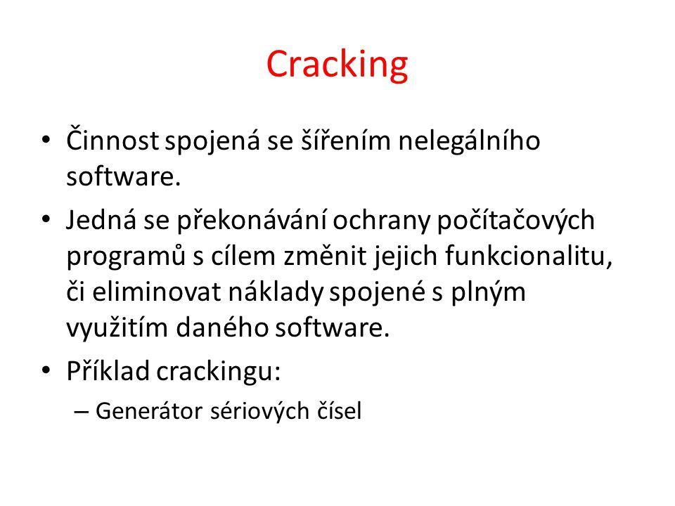 Cracking Činnost spojená se šířením nelegálního software.