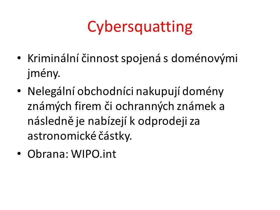 Cybersquatting Kriminální činnost spojená s doménovými jmény.