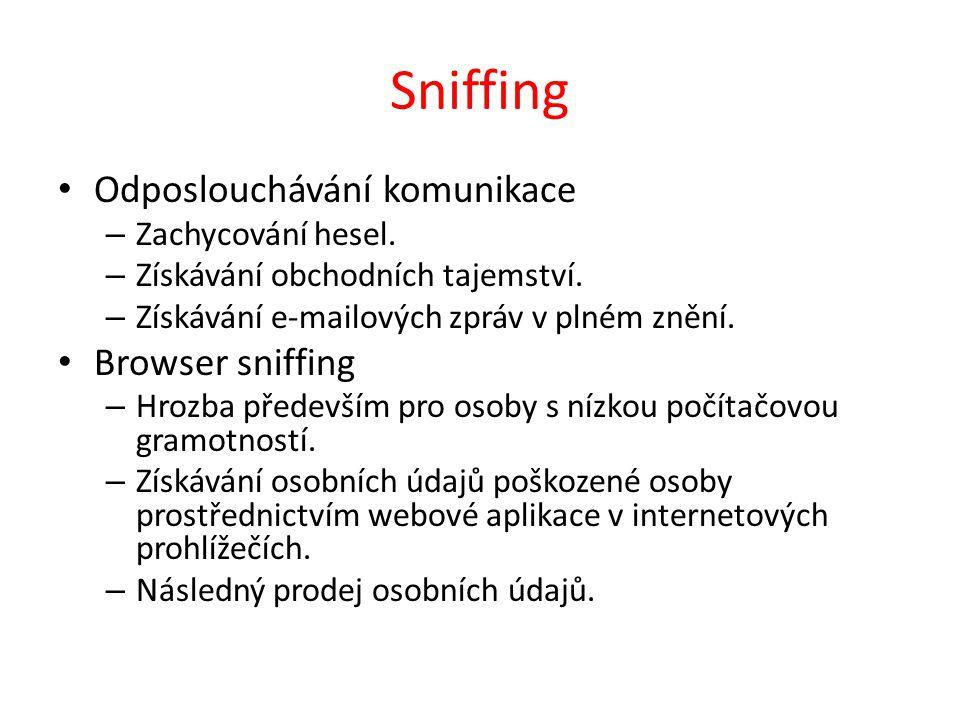 Sniffing Odposlouchávání komunikace – Zachycování hesel.