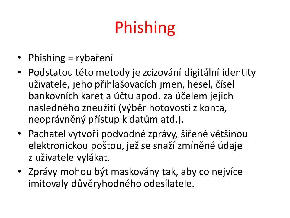 Phishing Phishing = rybaření Podstatou této metody je zcizování digitální identity uživatele, jeho přihlašovacích jmen, hesel, čísel bankovních karet a účtu apod.