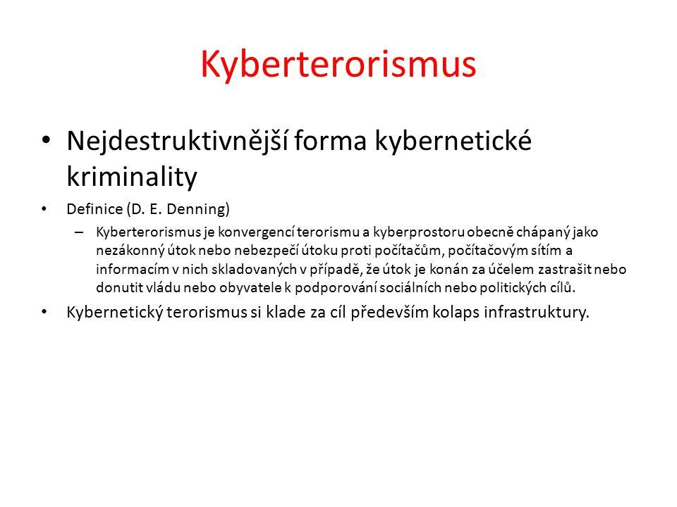 Kyberterorismus Nejdestruktivnější forma kybernetické kriminality Definice (D.