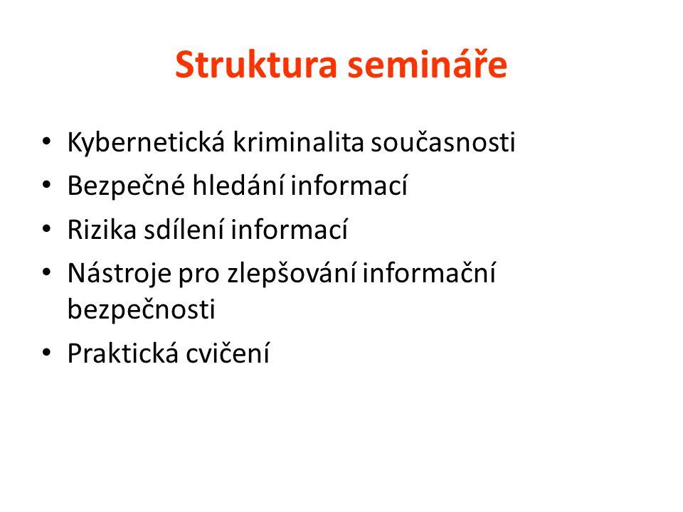 Struktura semináře Kybernetická kriminalita současnosti Bezpečné hledání informací Rizika sdílení informací Nástroje pro zlepšování informační bezpečnosti Praktická cvičení