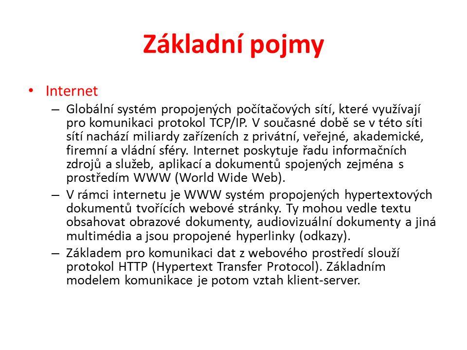 Základní pojmy Internet – Globální systém propojených počítačových sítí, které využívají pro komunikaci protokol TCP/IP.