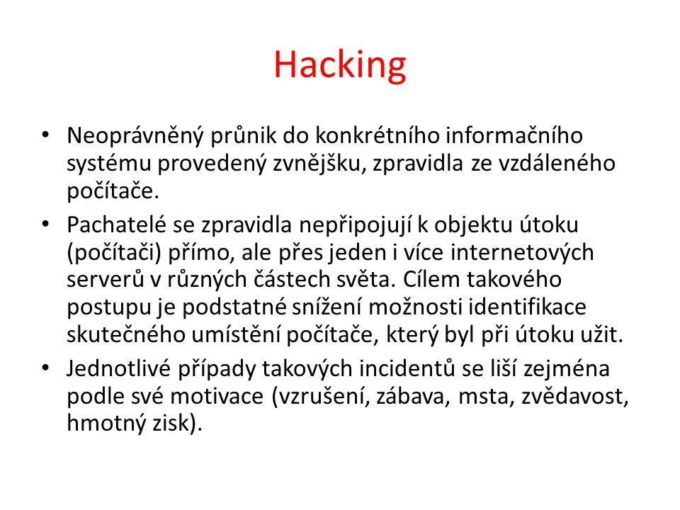 Hacking Neoprávněný průnik do konkrétního informačního systému provedený zvnějšku, zpravidla ze vzdáleného počítače.