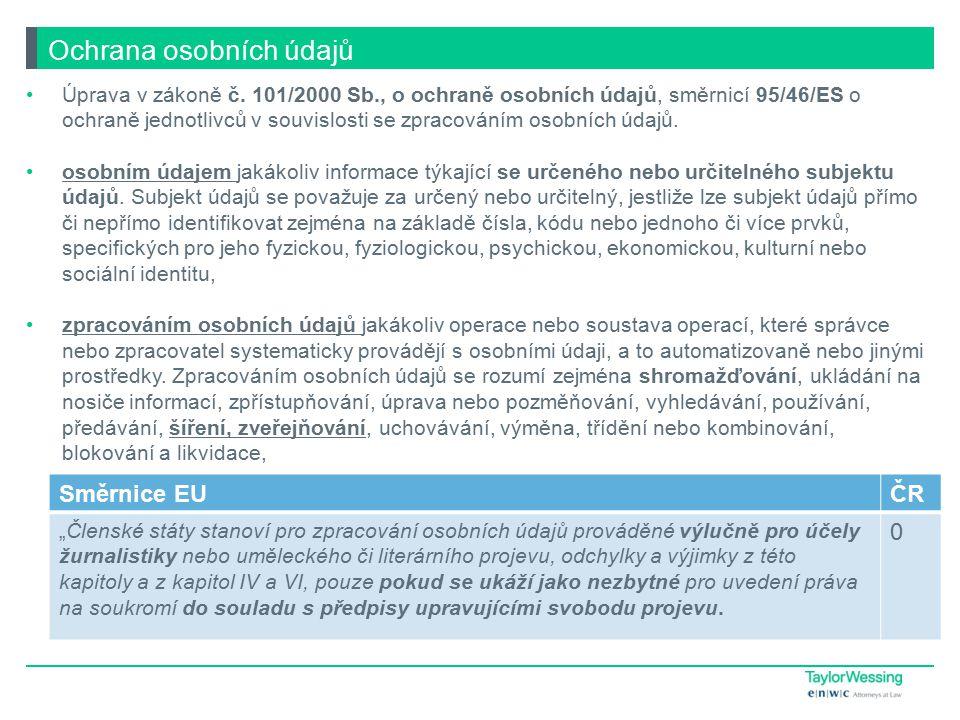 Ochrana osobních údajů Úprava v zákoně č.
