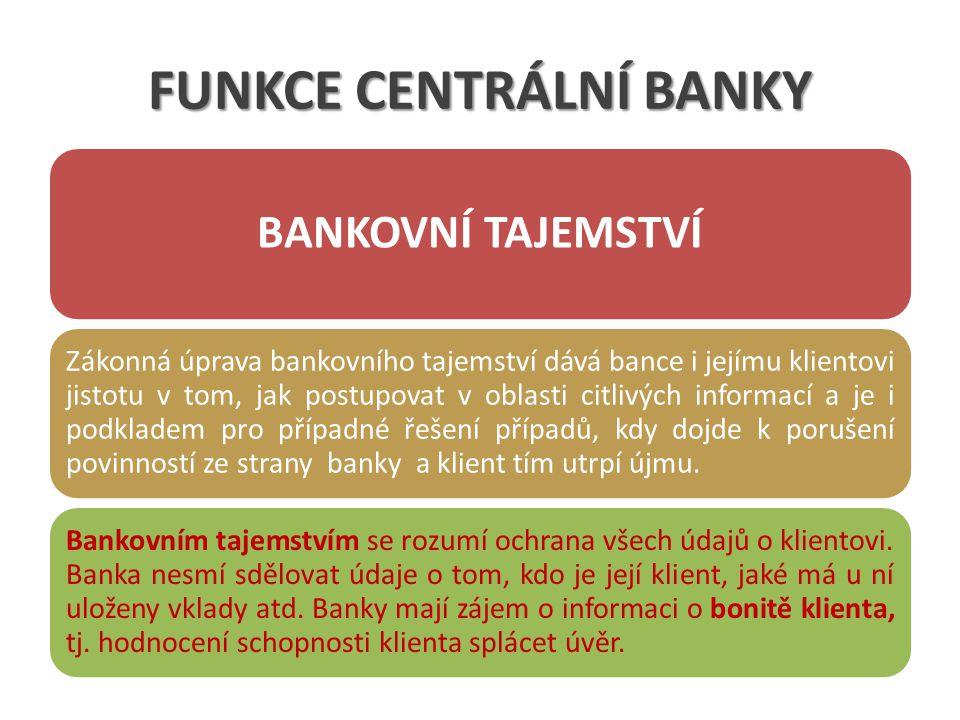 FUNKCE CENTRÁLNÍ BANKY BANKOVNÍ TAJEMSTVÍ Zákonná úprava bankovního tajemství dává bance i jejímu klientovi jistotu v tom, jak postupovat v oblasti citlivých informací a je i podkladem pro případné řešení případů, kdy dojde k porušení povinností ze strany banky a klient tím utrpí újmu.