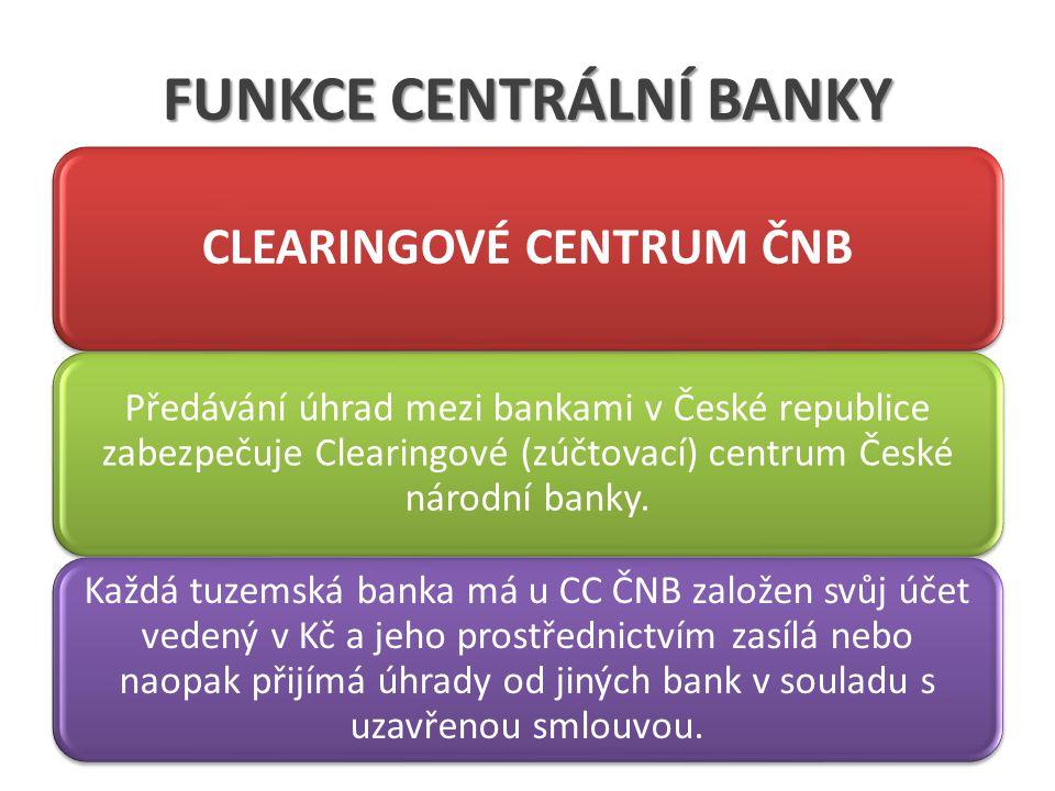 FUNKCE CENTRÁLNÍ BANKY CLEARINGOVÉ CENTRUM ČNB Předávání úhrad mezi bankami v České republice zabezpečuje Clearingové (zúčtovací) centrum České národn