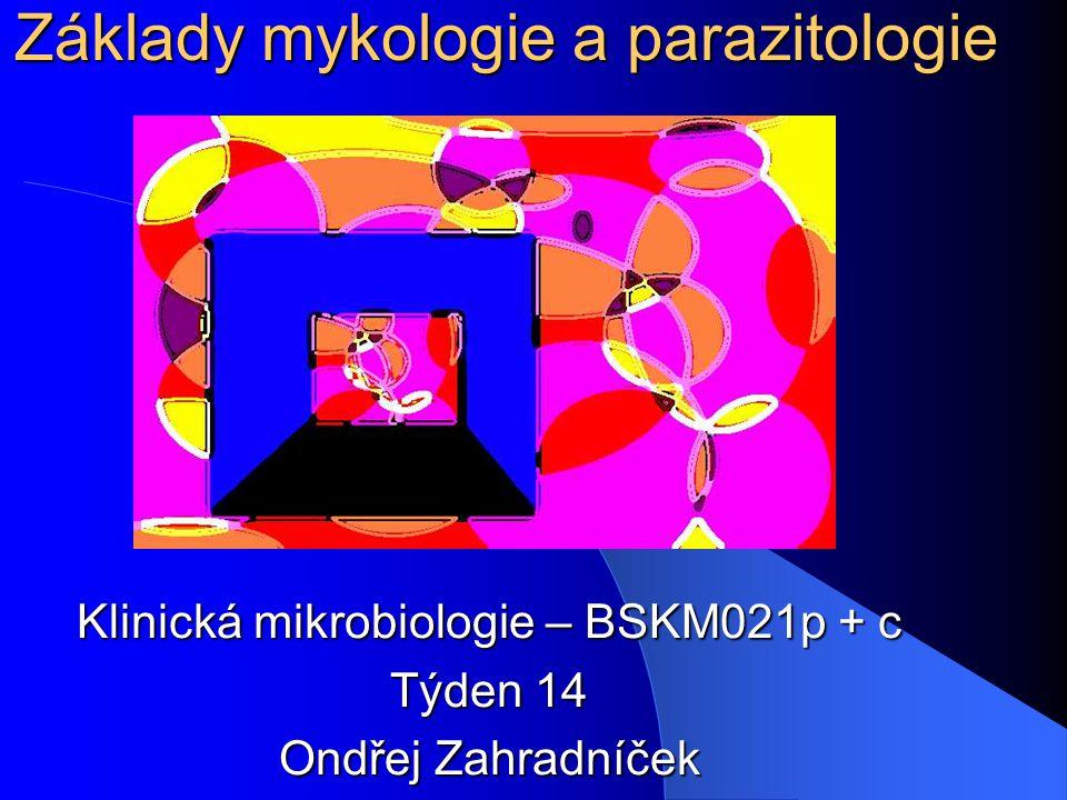 Základy mykologie a parazitologie Klinická mikrobiologie – BSKM021p + c Týden 14 Ondřej Zahradníček