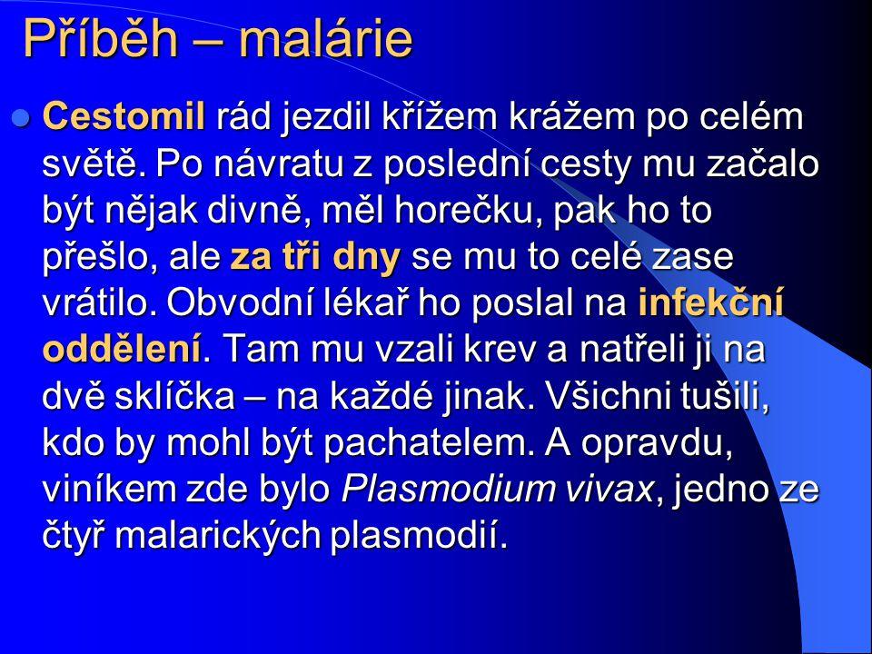 Klinický průběh malárie Malárie se projevuje záchvaty vysoké horečky s třesavkou a následným pocením, které se objevují každý druhý, resp. třetí den,