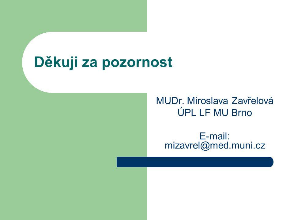 Děkuji za pozornost MUDr. Miroslava Zavřelová ÚPL LF MU Brno E-mail: mizavrel@med.muni.cz