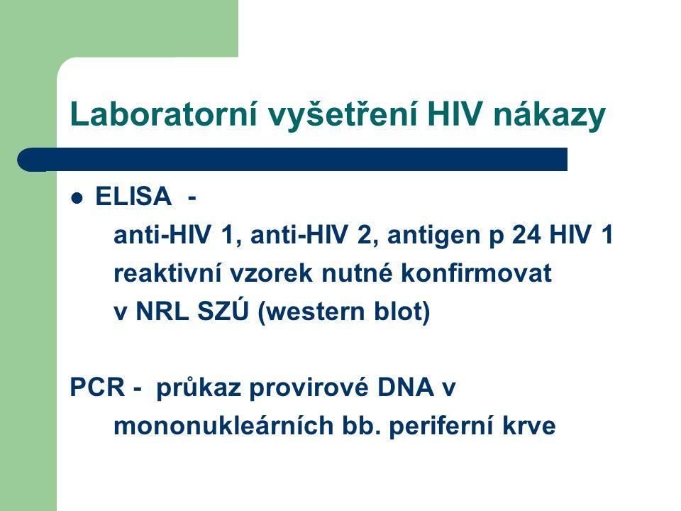 Laboratorní vyšetření HIV nákazy ELISA - anti-HIV 1, anti-HIV 2, antigen p 24 HIV 1 reaktivní vzorek nutné konfirmovat v NRL SZÚ (western blot) PCR - průkaz provirové DNA v mononukleárních bb.
