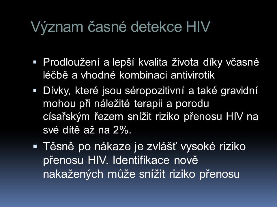 Význam časné detekce HIV  Prodloužení a lepší kvalita života díky včasné léčbě a vhodné kombinaci antivirotik  Dívky, které jsou séropozitivní a tak