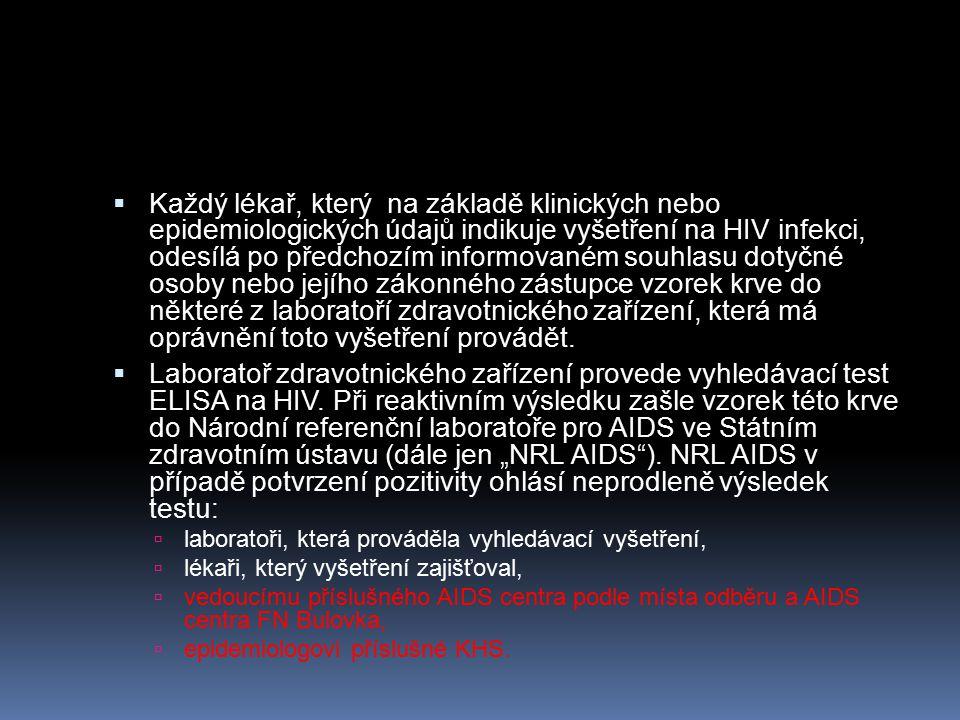  Každý lékař, který na základě klinických nebo epidemiologických údajů indikuje vyšetření na HIV infekci, odesílá po předchozím informovaném souhlasu