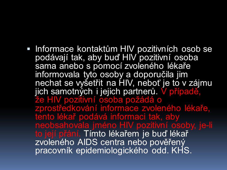  Informace kontaktům HIV pozitivních osob se podávají tak, aby buď HIV pozitivní osoba sama anebo s pomocí zvoleného lékaře informovala tyto osoby a
