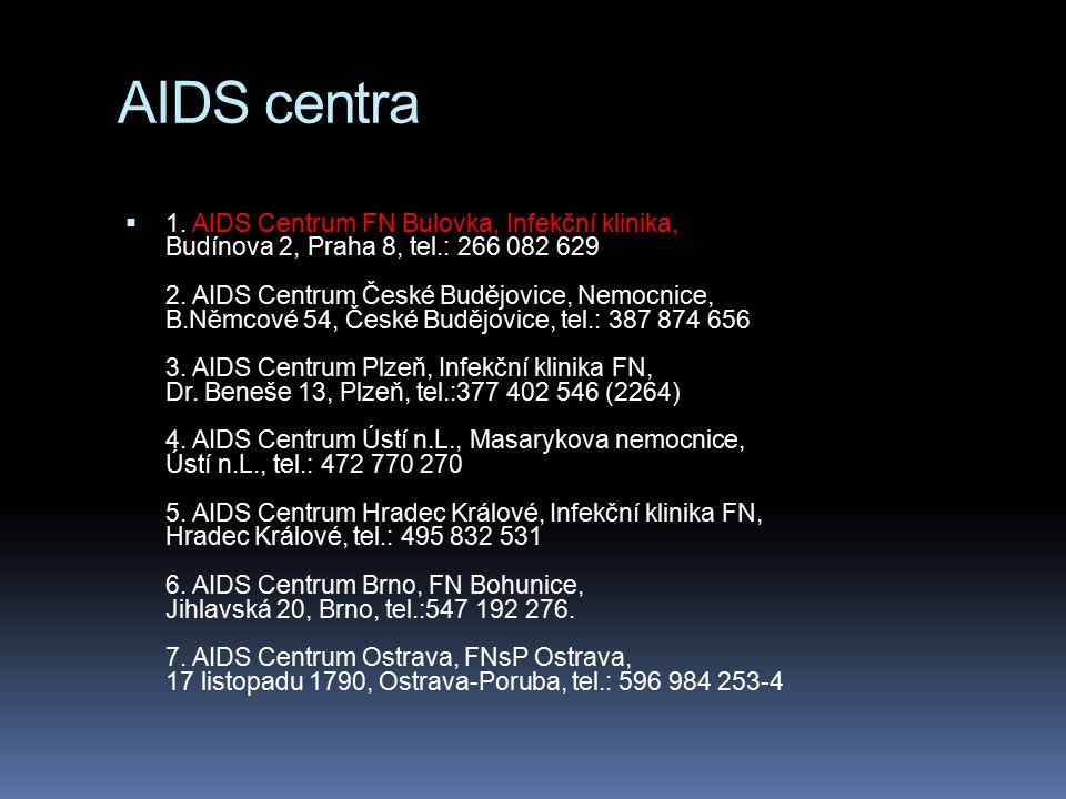 AIDS centra  1. AIDS Centrum FN Bulovka, Infekční klinika, Budínova 2, Praha 8, tel.: 266 082 629 2. AIDS Centrum České Budějovice, Nemocnice, B.Němc