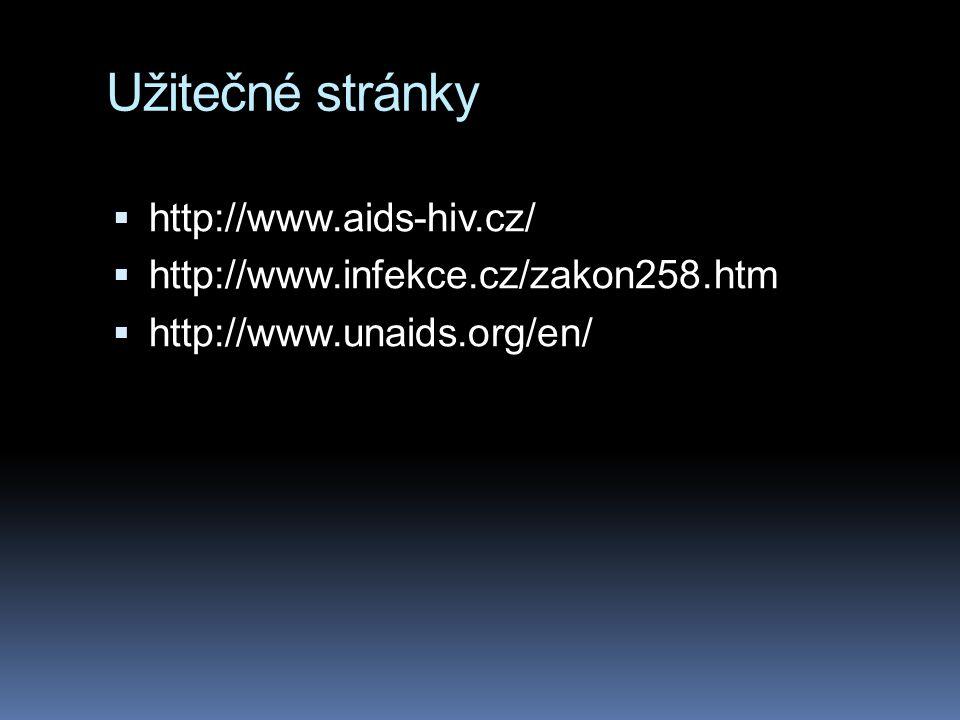 Užitečné stránky  http://www.aids-hiv.cz/  http://www.infekce.cz/zakon258.htm  http://www.unaids.org/en/