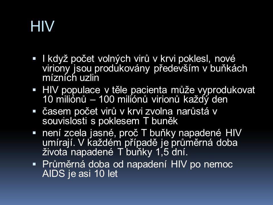 HIV  I když počet volných virů v krvi poklesl, nové viriony jsou produkovány především v buňkách mízních uzlin  HIV populace v těle pacienta může vy