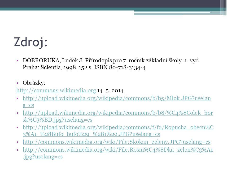 Zdroj: DOBRORUKA, Luděk J. Přírodopis pro 7. ročník základní školy. 1. vyd. Praha: Scientia, 1998, 152 s. ISBN 80-718-3134-4 Obrázky: http://commons.w