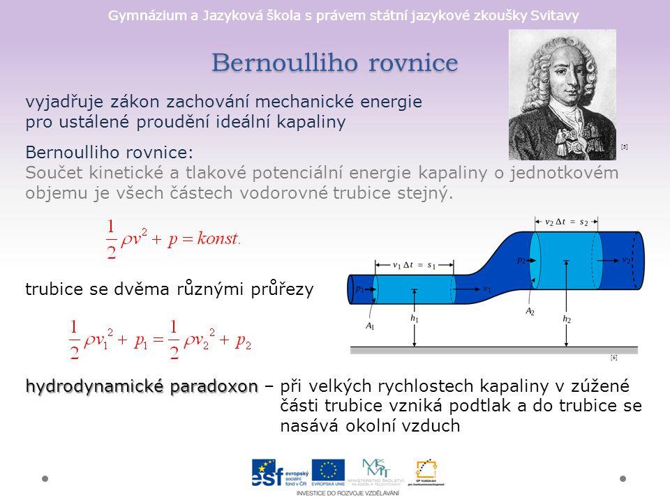 Gymnázium a Jazyková škola s právem státní jazykové zkoušky Svitavy Bernoulliho rovnice vyjadřuje zákon zachování mechanické energie pro ustálené prou
