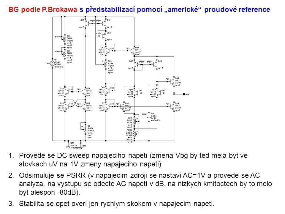 1.Provede se DC sweep napajeciho napeti (zmena Vbg by ted mela byt ve stovkach uV na 1V zmeny napajeciho napeti) 2.Odsimuluje se PSRR (v napajecim zdroji se nastavi AC=1V a provede se AC analyza, na vystupu se odecte AC napeti v dB, na nizkych kmitoctech by to melo byt alespon -80dB).