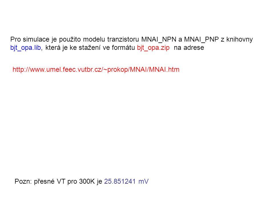http://www.umel.feec.vutbr.cz/~prokop/MNAI/MNAI.htm Pro simulace je použito modelu tranzistoru MNAI_NPN a MNAI_PNP z knihovny bjt_opa.lib, která je ke stažení ve formátu bjt_opa.zip na adrese Pozn: přesné VT pro 300K je 25.851241 mV