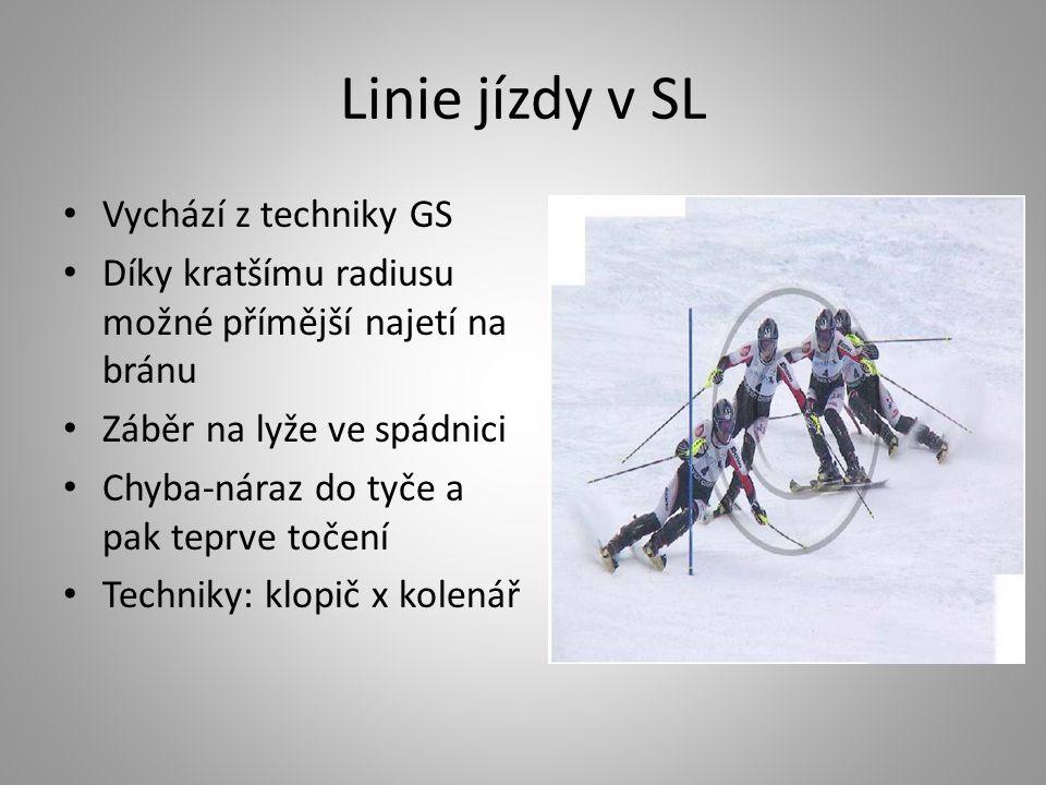 Linie jízdy v SL Vychází z techniky GS Díky kratšímu radiusu možné přímější najetí na bránu Záběr na lyže ve spádnici Chyba-náraz do tyče a pak teprve