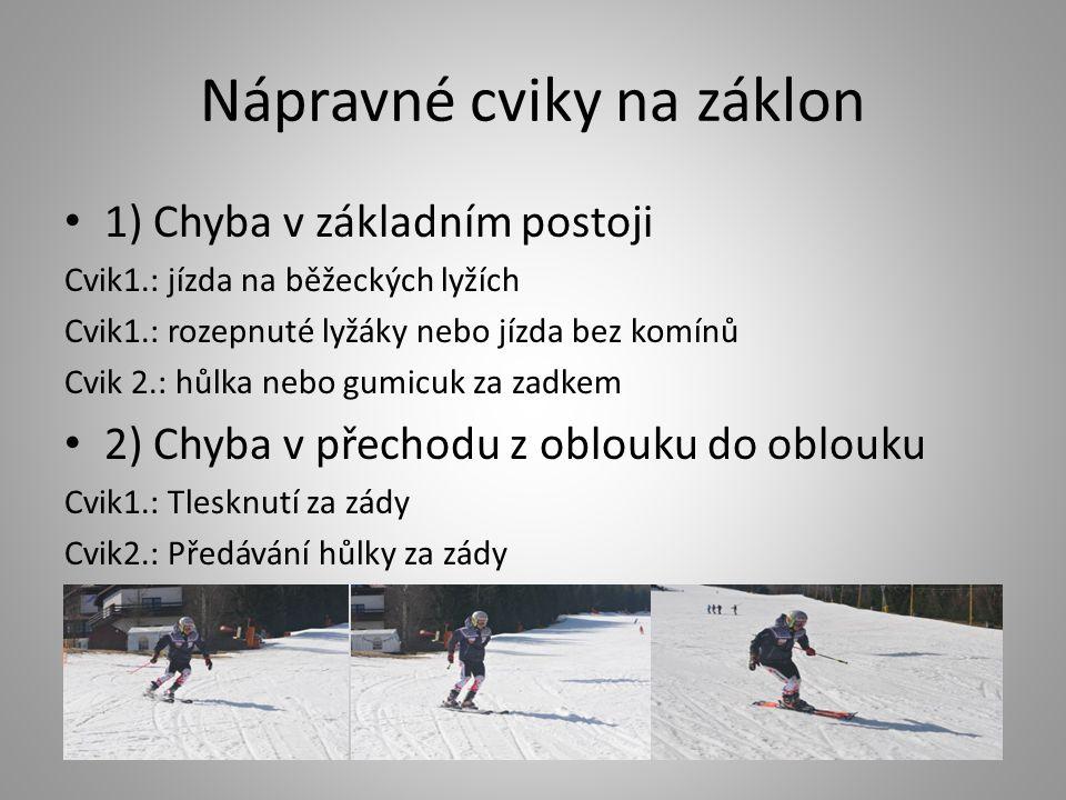 Nápravné cviky na záklon 1) Chyba v základním postoji Cvik1.: jízda na běžeckých lyžích Cvik1.: rozepnuté lyžáky nebo jízda bez komínů Cvik 2.: hůlka