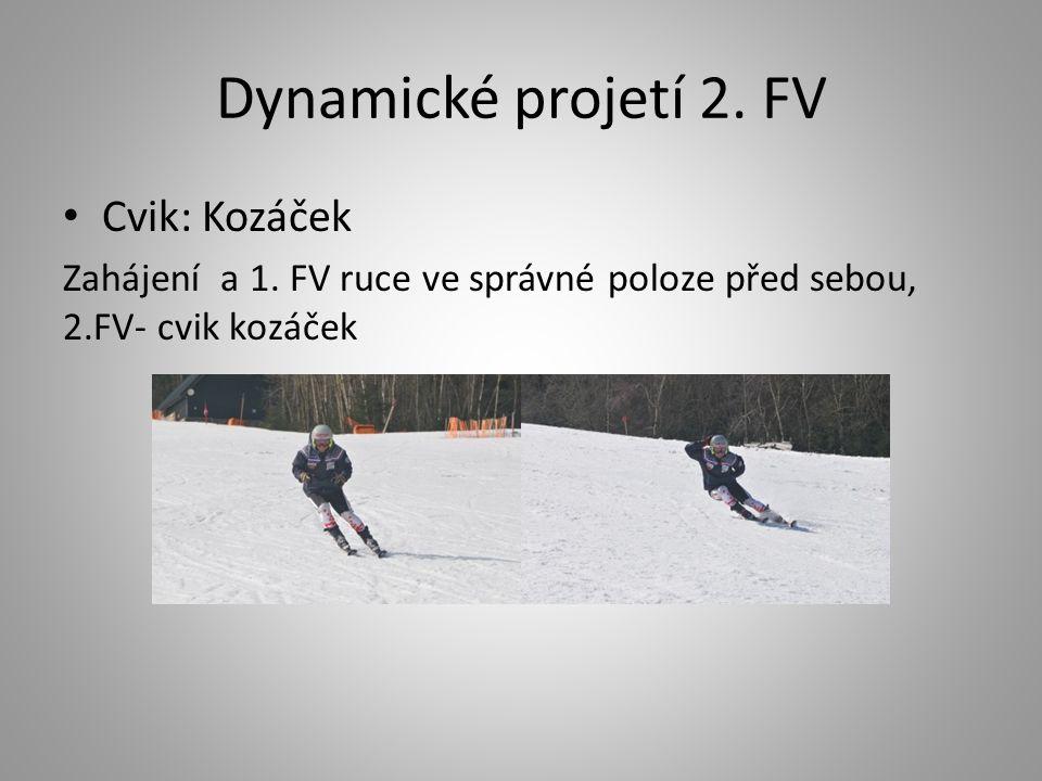 Dynamické projetí 2. FV Cvik: Kozáček Zahájení a 1. FV ruce ve správné poloze před sebou, 2.FV- cvik kozáček