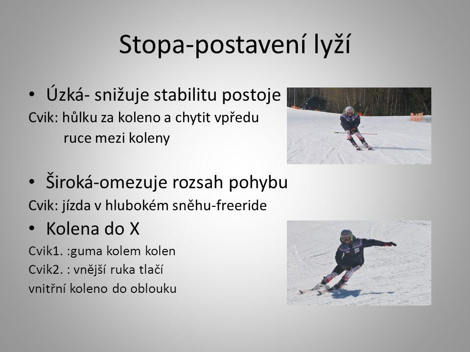 Stopa-postavení lyží Úzká- snižuje stabilitu postoje Cvik: hůlku za koleno a chytit vpředu ruce mezi koleny Široká-omezuje rozsah pohybu Cvik: jízda v