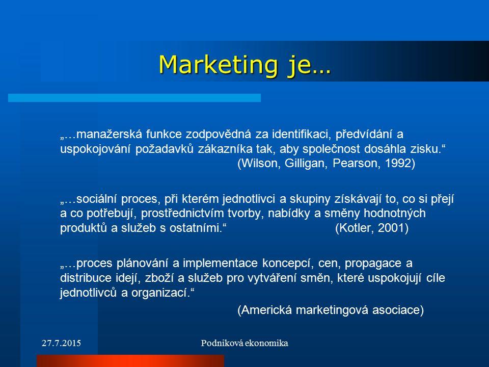 """27.7.2015Podniková ekonomika Marketing je… """"…manažerská funkce zodpovědná za identifikaci, předvídání a uspokojování požadavků zákazníka tak, aby společnost dosáhla zisku. (Wilson, Gilligan, Pearson, 1992) """"…sociální proces, při kterém jednotlivci a skupiny získávají to, co si přejí a co potřebují, prostřednictvím tvorby, nabídky a směny hodnotných produktů a služeb s ostatními. (Kotler, 2001) """"…proces plánování a implementace koncepcí, cen, propagace a distribuce idejí, zboží a služeb pro vytváření směn, které uspokojují cíle jednotlivců a organizací. (Americká marketingová asociace)"""