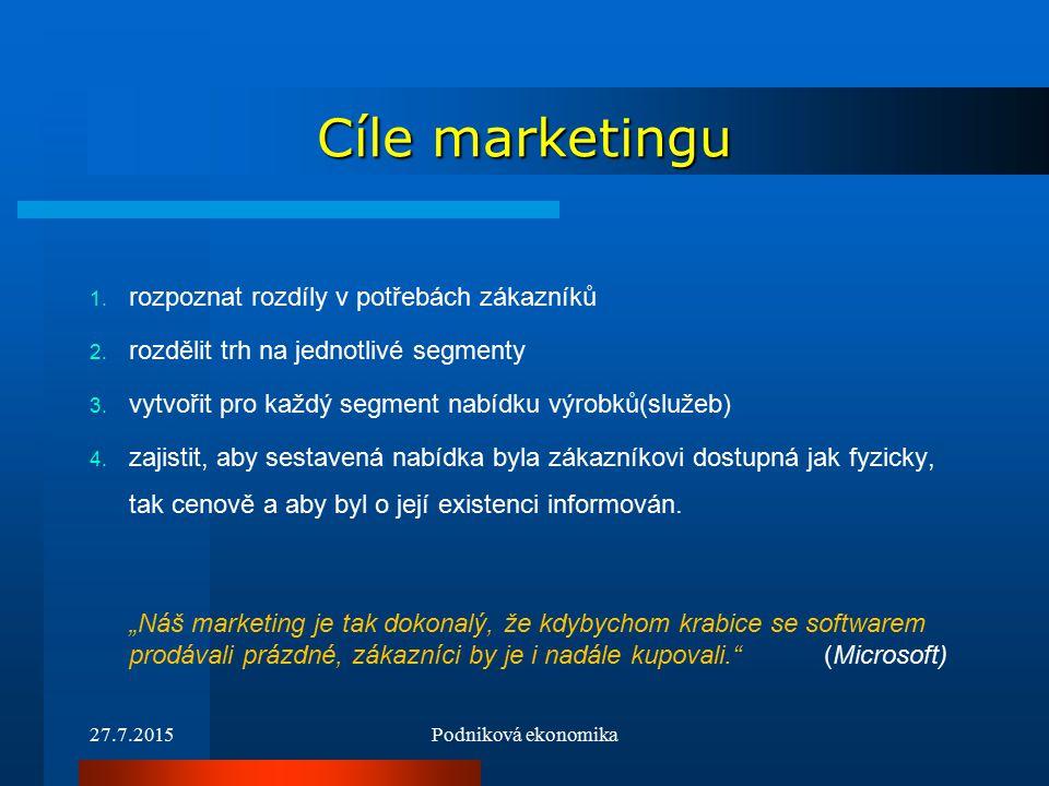 27.7.2015Podniková ekonomika Cíle marketingu 1. rozpoznat rozdíly v potřebách zákazníků 2.