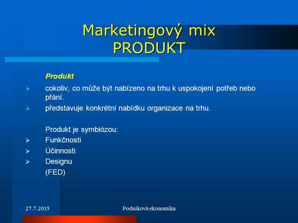 27.7.2015Podniková ekonomika Marketingový mix PRODUKT Produkt  cokoliv, co může být nabízeno na trhu k uspokojení potřeb nebo přání.