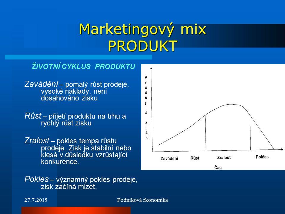 27.7.2015Podniková ekonomika Marketingový mix PRODUKT ŽIVOTNÍ CYKLUS PRODUKTU Zavádění – pomalý růst prodeje, vysoké náklady, není dosahováno zisku Růst – přijetí produktu na trhu a rychlý růst zisku Zralost – pokles tempa růstu prodeje.