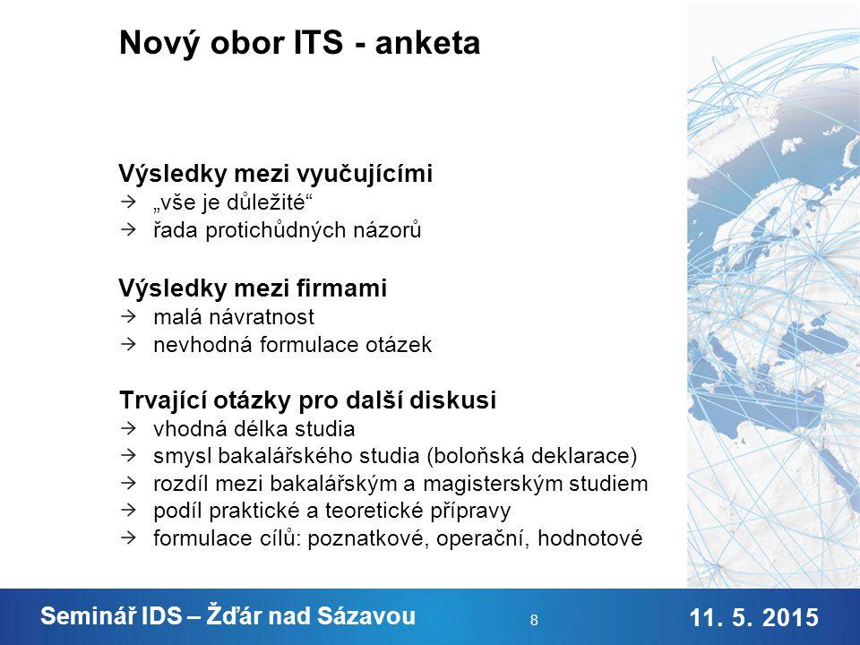 9. 2. 2015 Jméno Příjmení 11. 5. 2015 Seminář IDS – Žďár nad Sázavou 9 Nový obor ITS – průzkum trhu