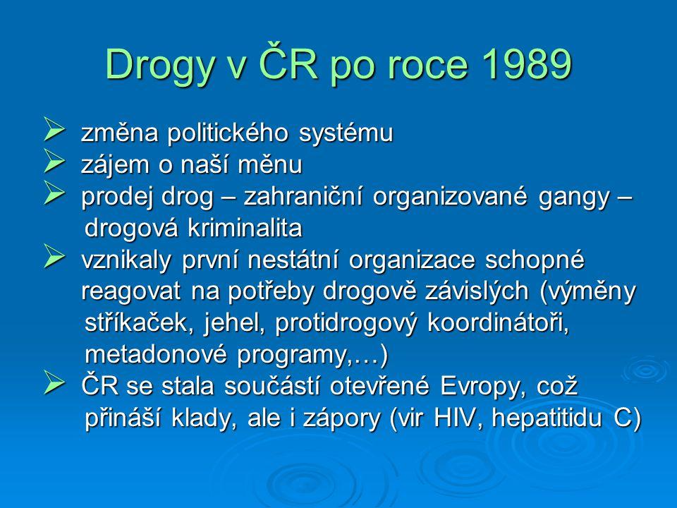 Drogy v ČR po roce 1989  změna politického systému  zájem o naší měnu  prodej drog – zahraniční organizované gangy – drogová kriminalita drogová kriminalita  vznikaly první nestátní organizace schopné reagovat na potřeby drogově závislých (výměny reagovat na potřeby drogově závislých (výměny stříkaček, jehel, protidrogový koordinátoři, stříkaček, jehel, protidrogový koordinátoři, metadonové programy,…) metadonové programy,…)  ČR se stala součástí otevřené Evropy, což přináší klady, ale i zápory (vir HIV, hepatitidu C) přináší klady, ale i zápory (vir HIV, hepatitidu C)